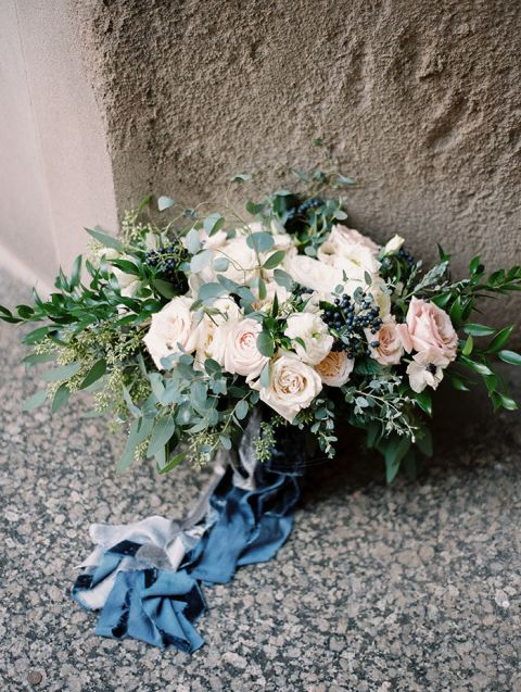 Blush and Midnight Blue Bouquet