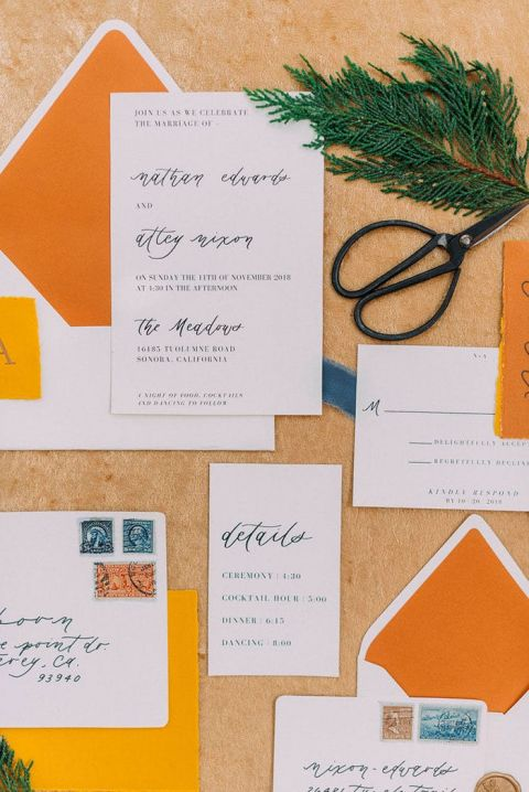 Golden Tones for a Modern Colorful Wedding Invitation