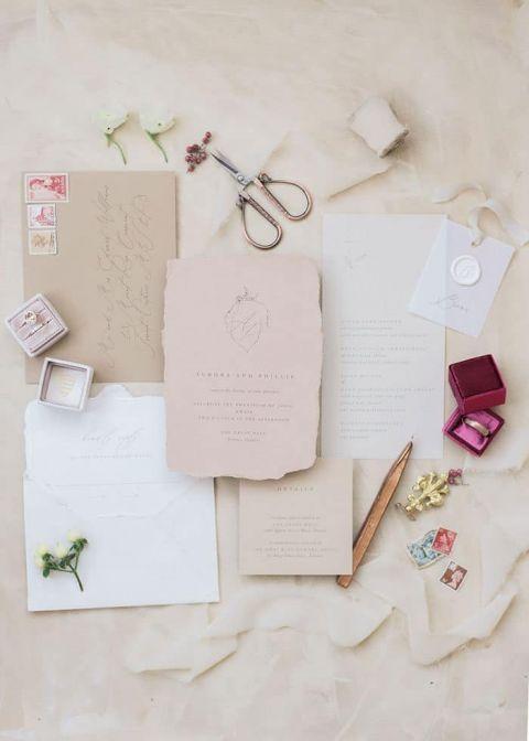 Blush and Linen Wedding Invitations