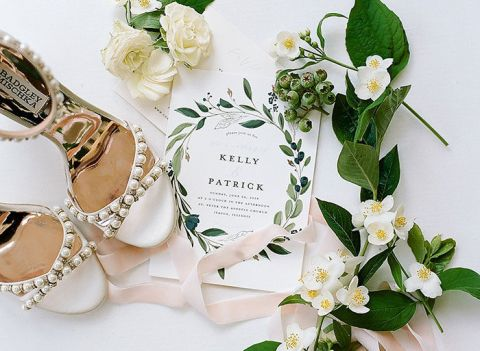 Greenery and White Flowers for a Modern Vogue Worth Wedding