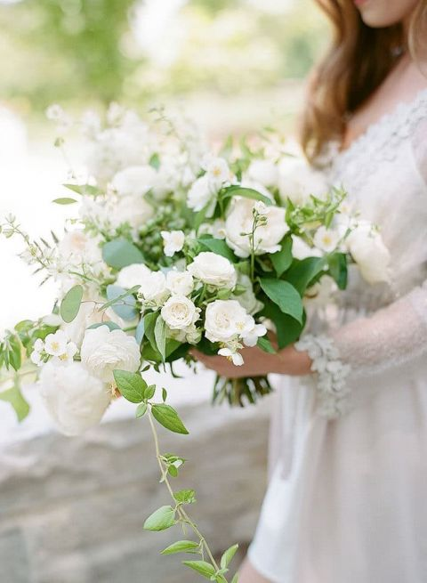 Vogue Worthy Wedding With Greenery And White Flowers Hey Wedding Lady