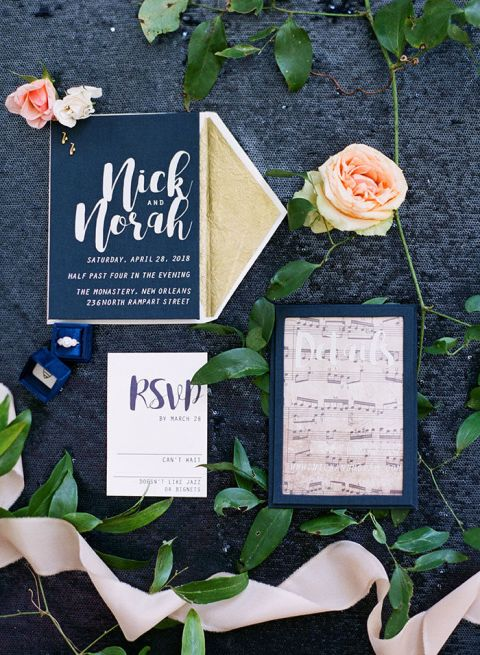 Navy Blue Music Inspired Invitations for a Colorful Chic Wedding