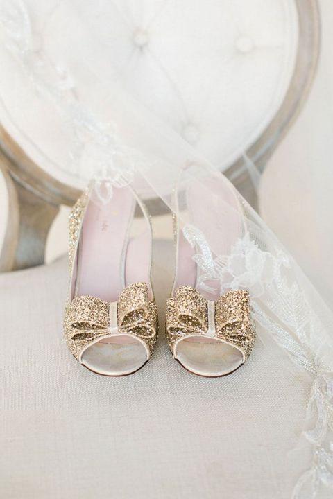 Gold Glitter Bowl Heels