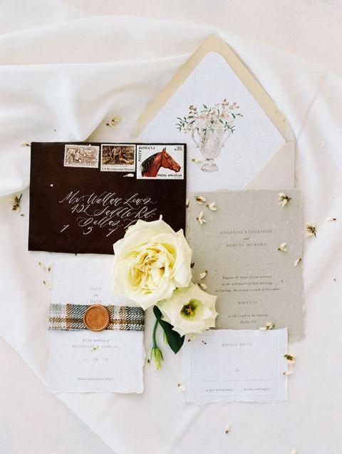 Ralph Lauren Inspired Ranch Invitations for a Texas Wedding