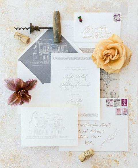 Winery Inspired Wedding Invitations with Italian Flair
