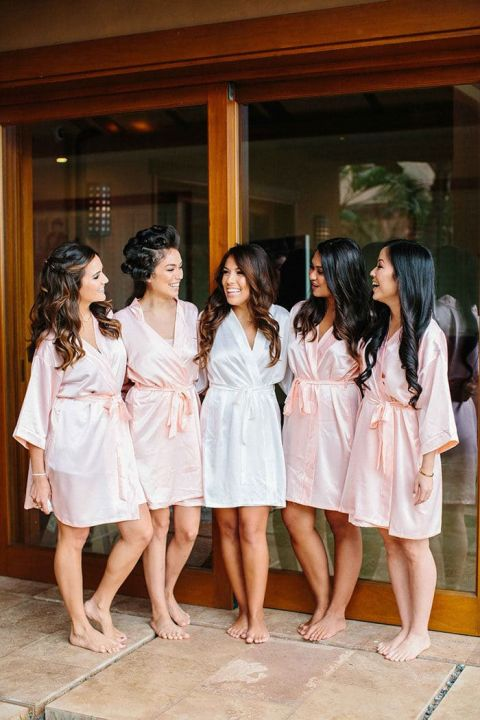 Silk Getting Ready Robes for the Bride and Bridesmaids