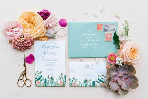 Colorful Cactus Invitation for a Succulent and Terra Cotta Bohemian Wedding