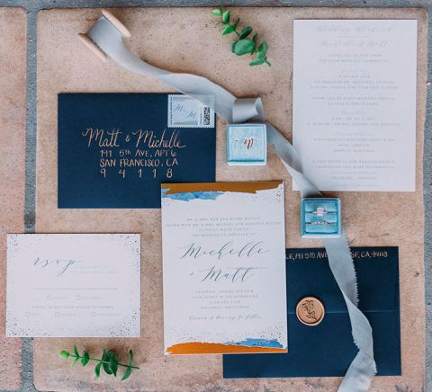 Splash of Gold Geode Wedding Invitations in Navy Blue