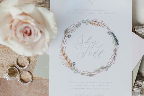 Flower Wreath Wedding Invitations