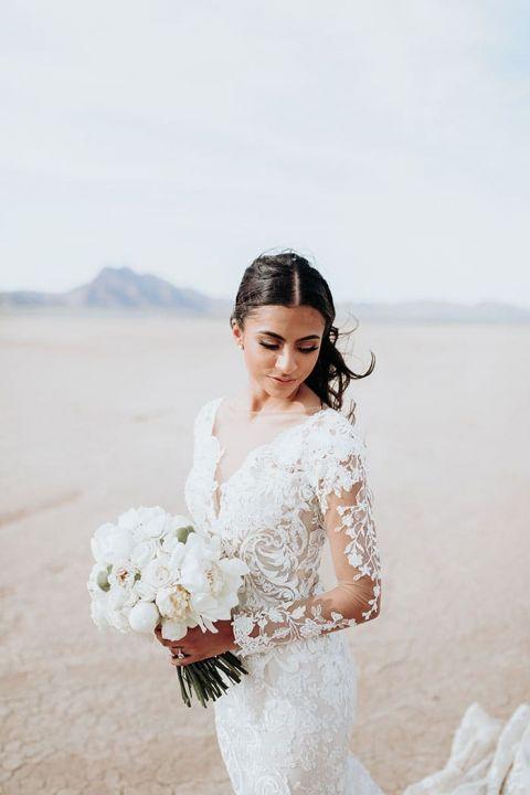 Stunning Desert Bride with a Long Sleeve Wedding Dress