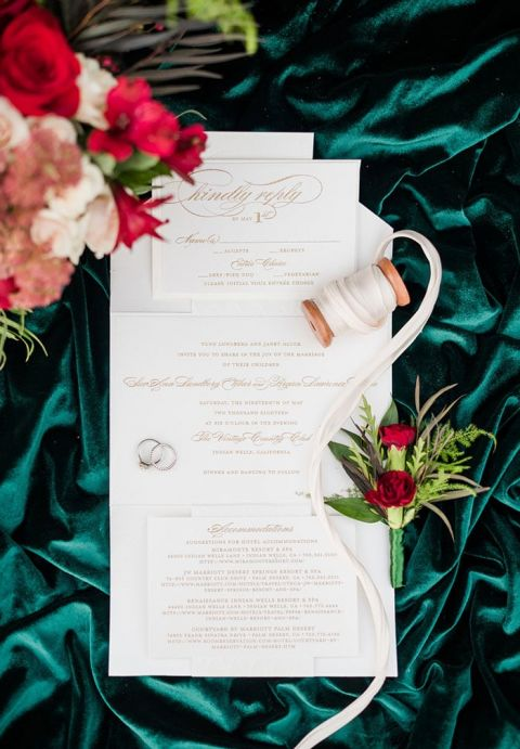 White and Gold Winter Wedding Invitations