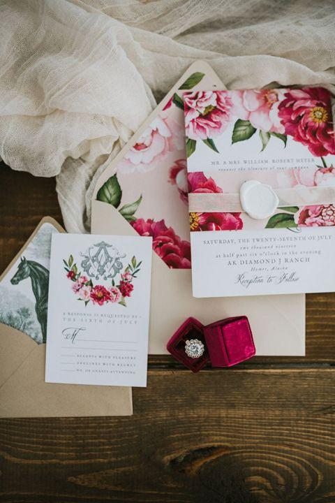 Pink Peony Pattern Wedding Invitations