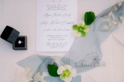Dusty Blue, White, and Greenery Wedding Invitations