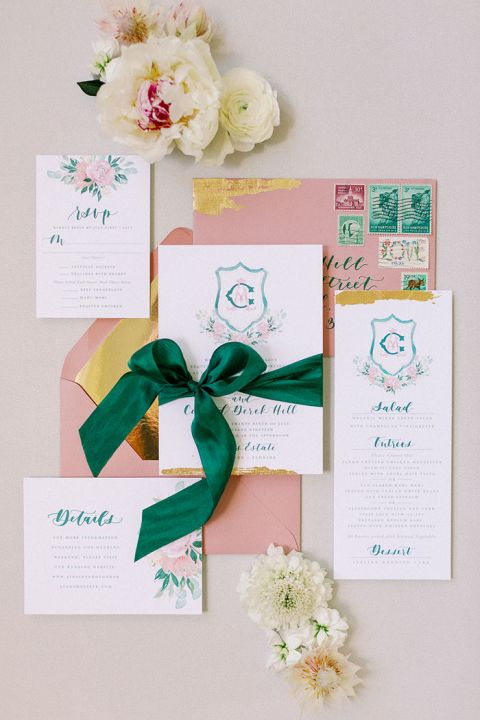 Preppy Modern Monogram Invitations in Emerald and Pink