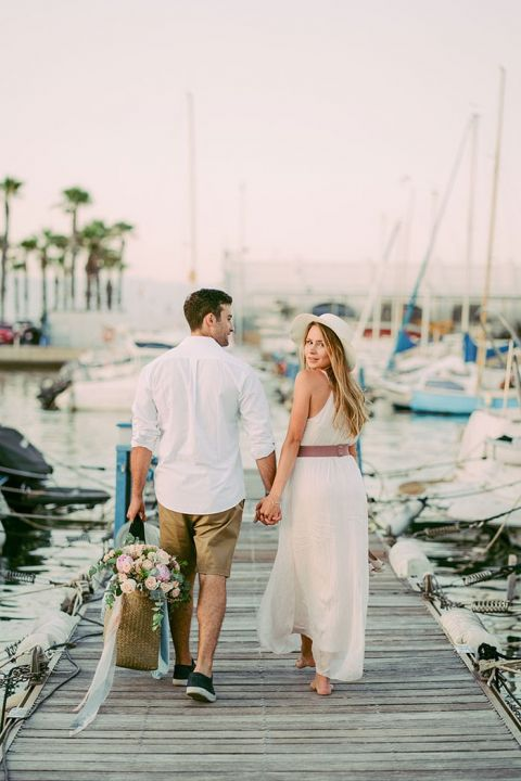 Costa del Sol Sunset Engagement on a Sailboat