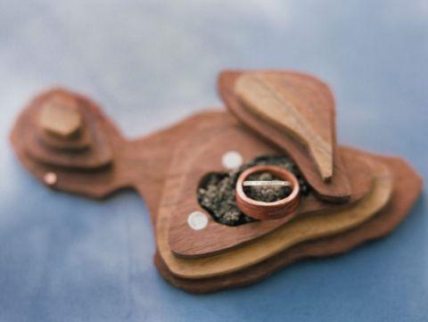 Handmade Engagement Ring Box Shaped like Maui
