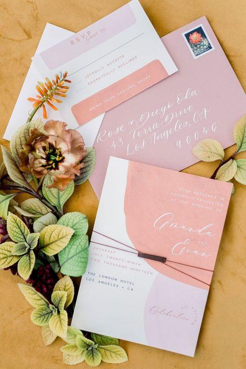 Modern Color Blocked Wedding Invitations