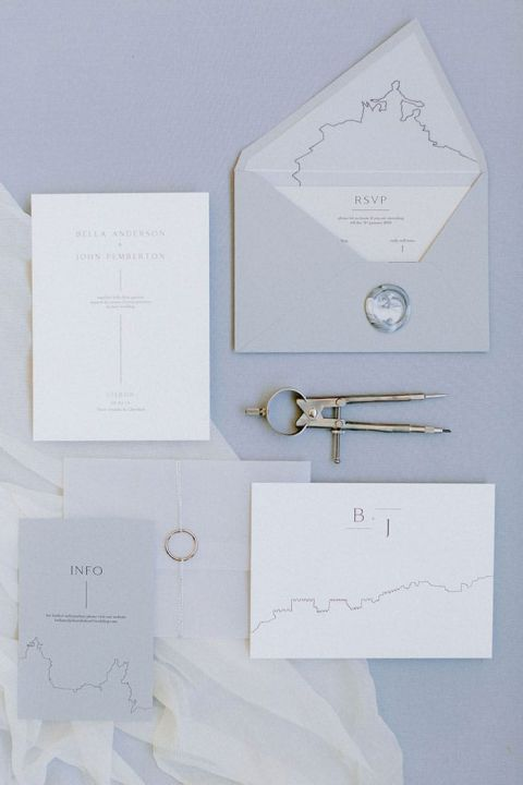 Architectural Wedding Invitation Inspired by the Lisbon Skyline