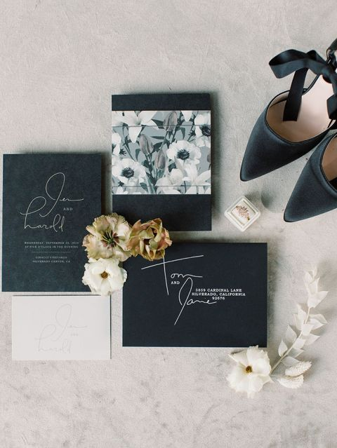 Modern Wedding Invitations with White Ink on Black