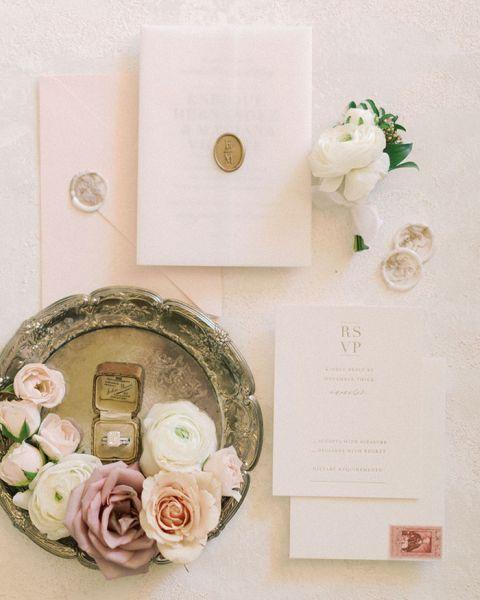 Vintage Blush and Mauve Wedding Invitations