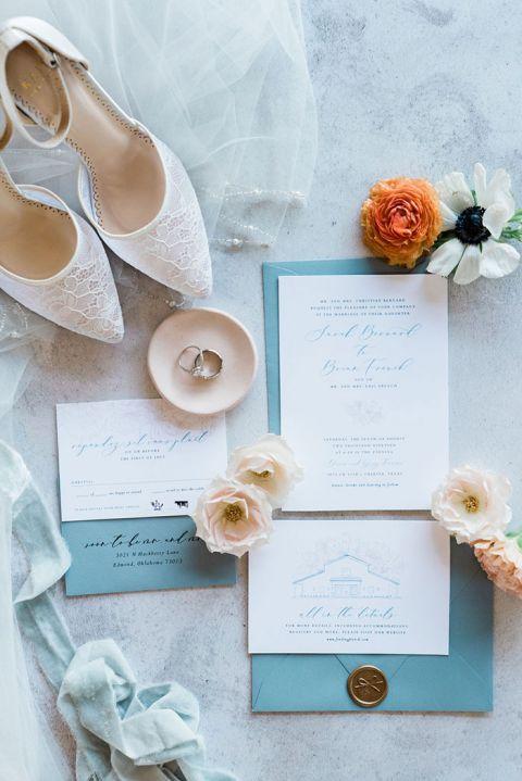 Dusty Blue and Peach Wedding Invitations