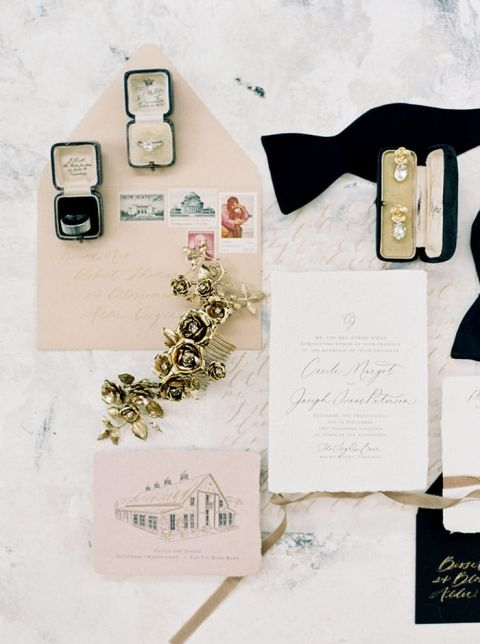 Blush and Black Wedding Invitations with Calligraphy and Watercolor Details
