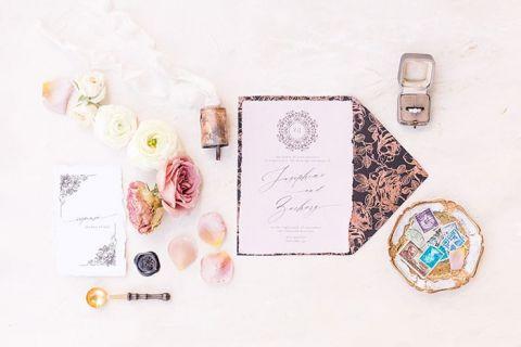Rose Gold Metallic Floral Print Invitations