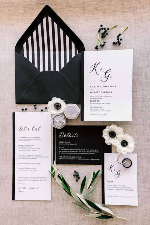 Elegant Black and White Invitations with Natural Gray and Greenery