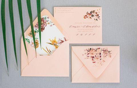 Earth Tone and Coral Wedding Invitations