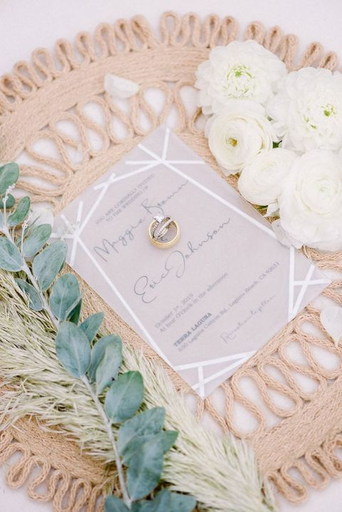 Woven Rattan Place Setting for a Beach Cottage inspired Wedding Flatlay with Geometric Invitations
