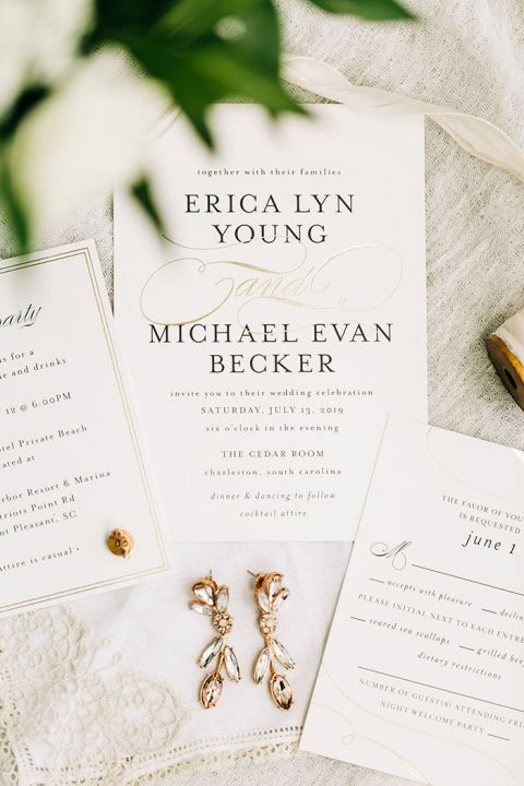 White and Green Wedding Invitations