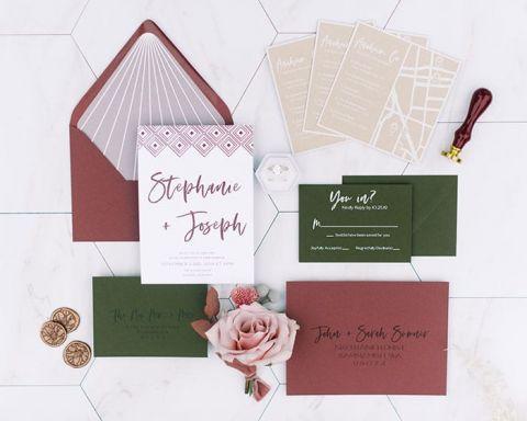 Burgundy and Olive Green Wedding Invitations