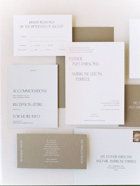 Warm Neutral Scandinavian Style Wedding Invitations