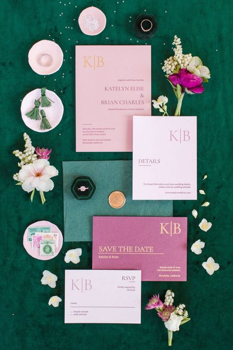 Invitation Flatlay with Garden Flowers in Emerald Green and Pink