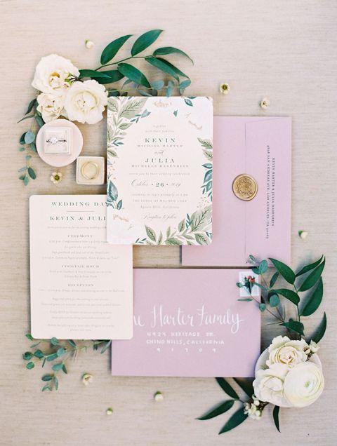 Lovely Lavender Fall Pastel Wedding Invitations