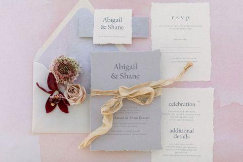 Gray and Burgundy Wedding Invitations