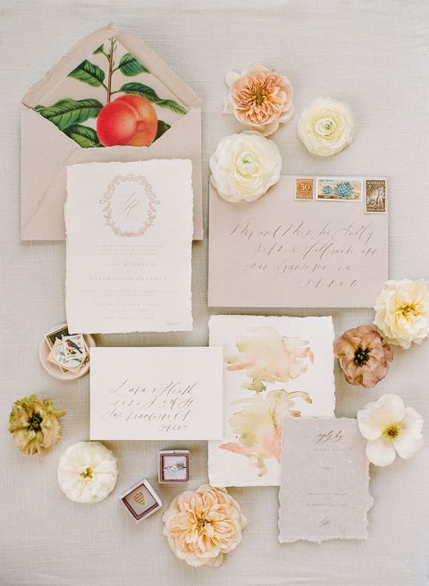 Neutral and Earth Tone Wedding Invitations to add Elegance to a Wine Country Retreat Wedding