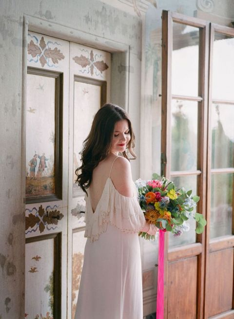 Simple Off the Shoulder Wedding Dress for a Relaxed Tuscany Event