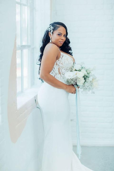 Fitted Crepe and Lace Wedding Dress for a Stunning Black Bride