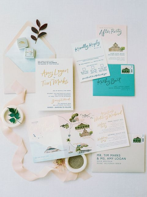 Travel Inspired Wedding Invitation with Watercolor Illustrations