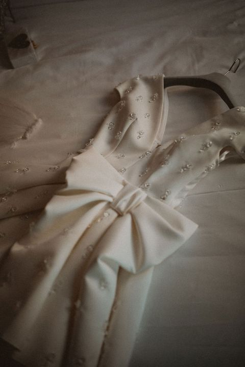 Alternative Wedding Dress with an Architectural Bow and Beaded Details