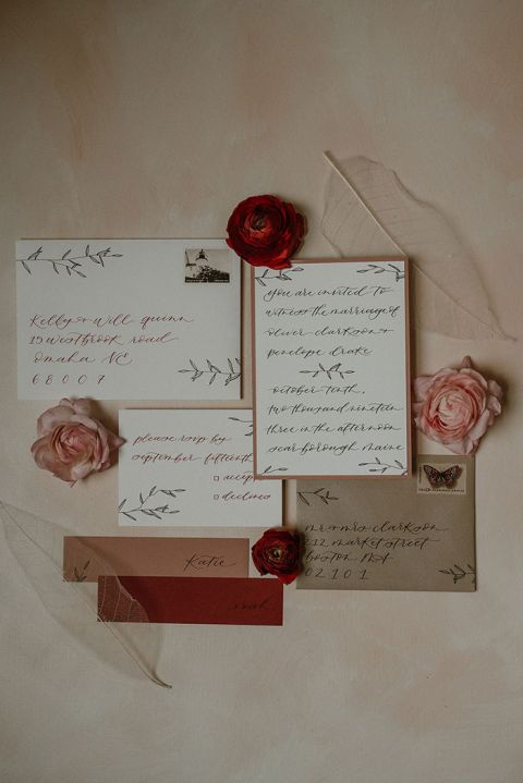 Berry, Rose, and Neutral Wedding Invitation Suite