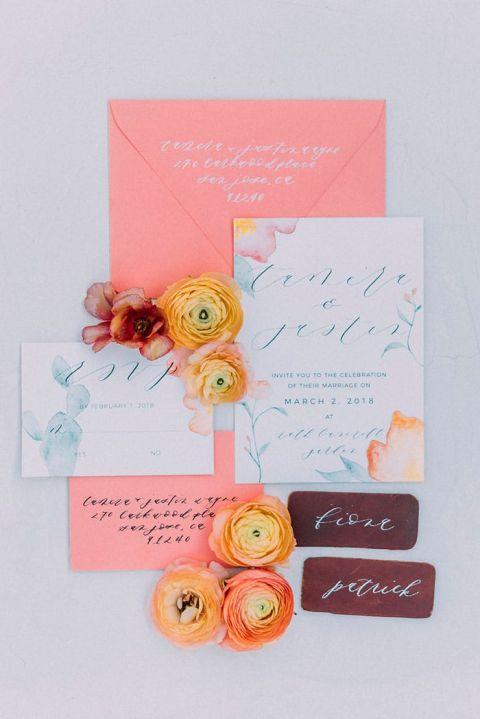 Blue, Plum Purple and Orange Cactus Garden Elopement Invitations
