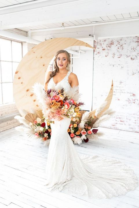 Rustic Bohemian Wedding Style Meets Celestial Style with a Pampas Grass Moon Backdrop