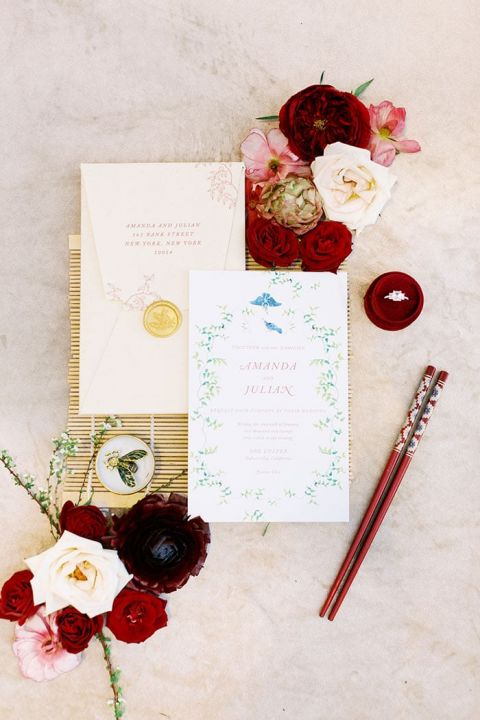 A Red and Gold Color Palette for Luxe Bali-Inspired Wedding Invitations