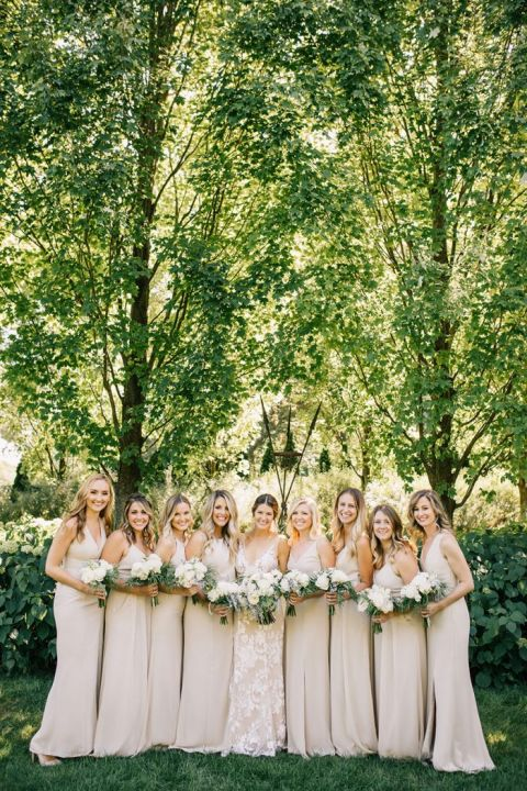 Made with Love Stevie Wedding Dress with Tan Bridesmaid Dresses for a Neutral and Greenery Wedding at an Italian Villa