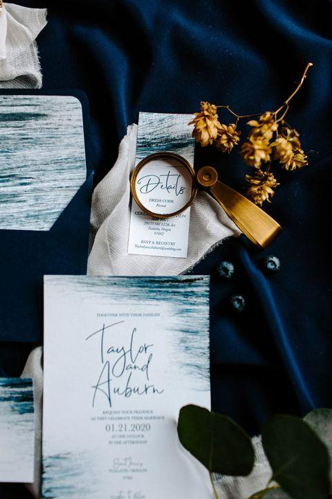 Gold and Blue Brushwork Wedding Invitations