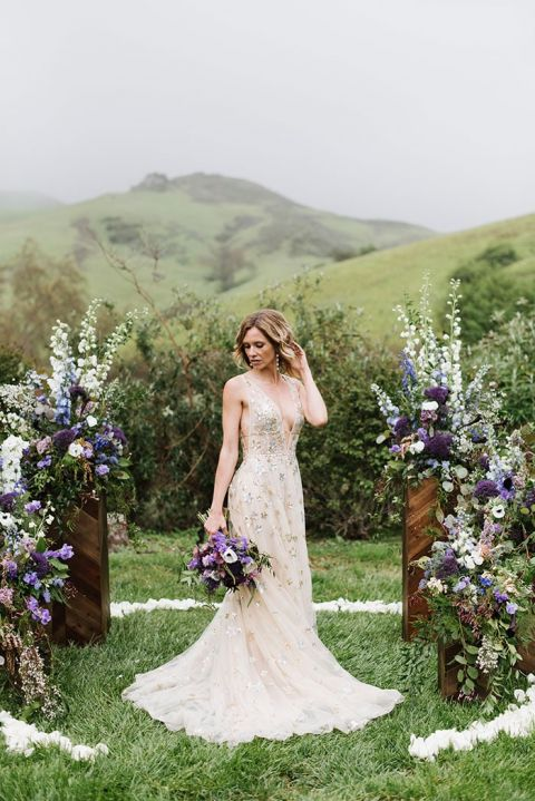 Stargazing in the Misty Hills for this Enchanting Elopement Shoot with a Starry Dress