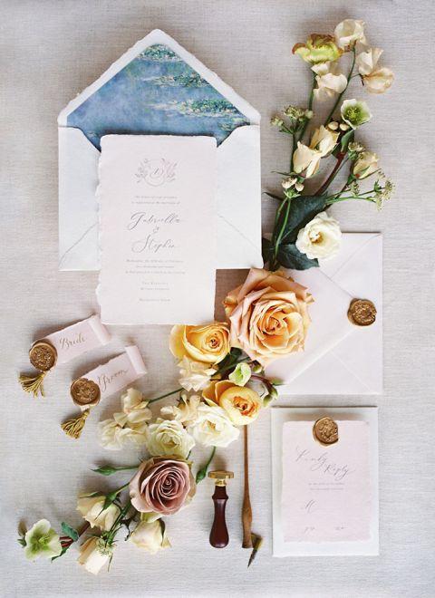Monet Inspired Wedding Invitations for a European Wedding Style shoot