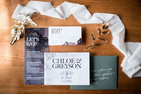Blue Agate and Forest Green Metallic Winter Wedding invitations